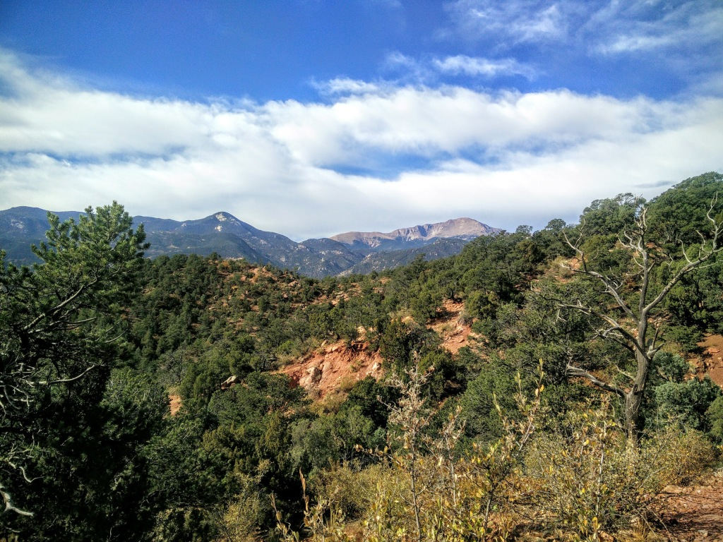 View of Pikes Peak mountain from the Garden of the Gods