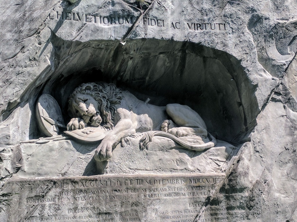 Dying Lion of Lucerne statue